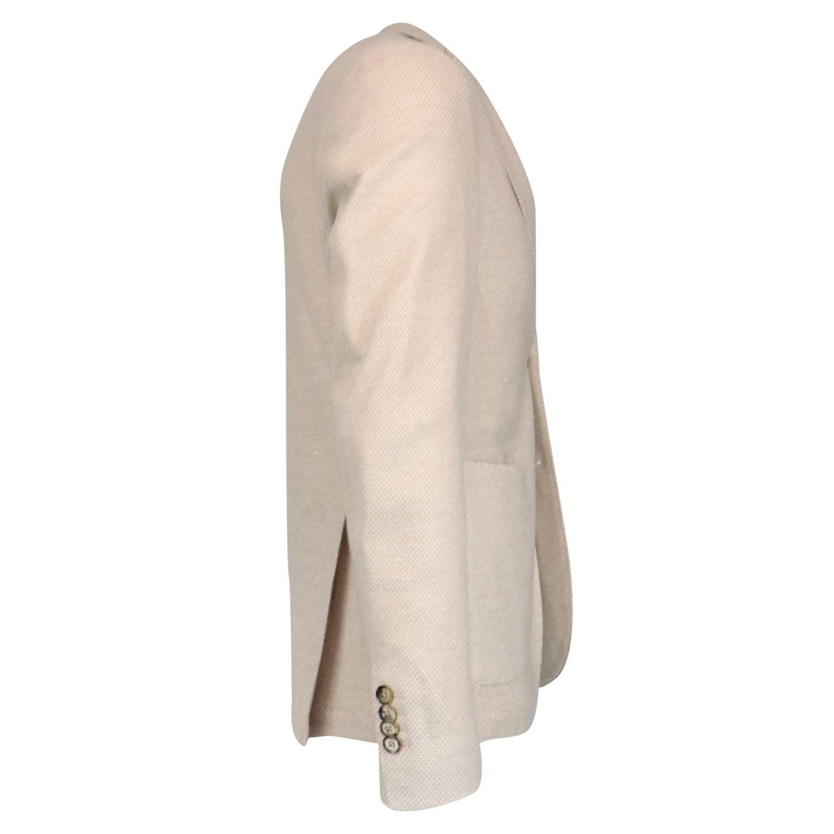 Slim two-button jacket in textured cotton and linen Cream L.B.M. 1911