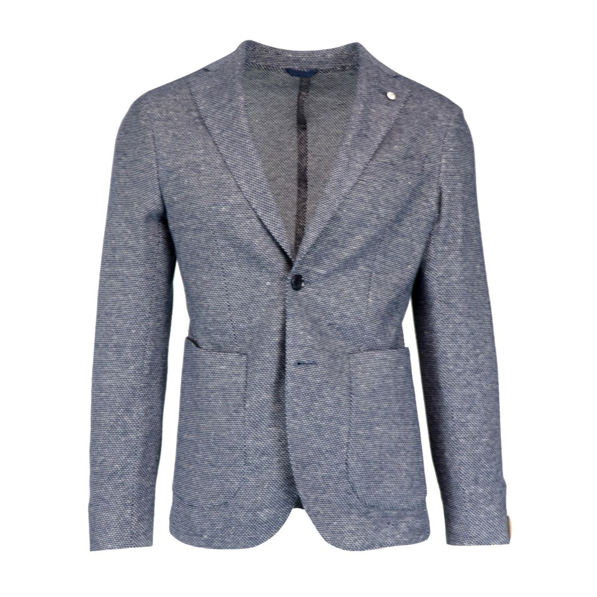 Slim two-button jacket in textured cotton and linen Denim L.B.M. 1911