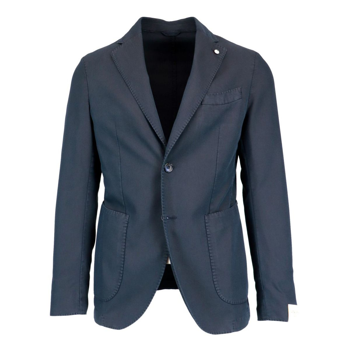 Two-button slim jacket in textured cotton blend Blue L.B.M. 1911