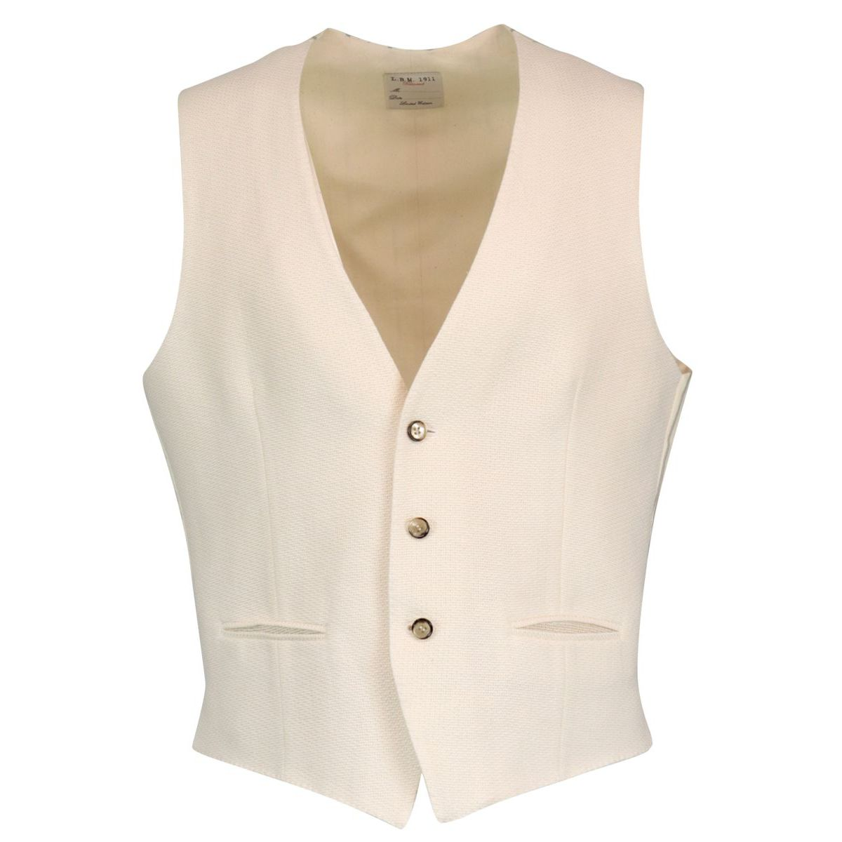 Cotton and linen textured waistcoat Cream L.B.M. 1911