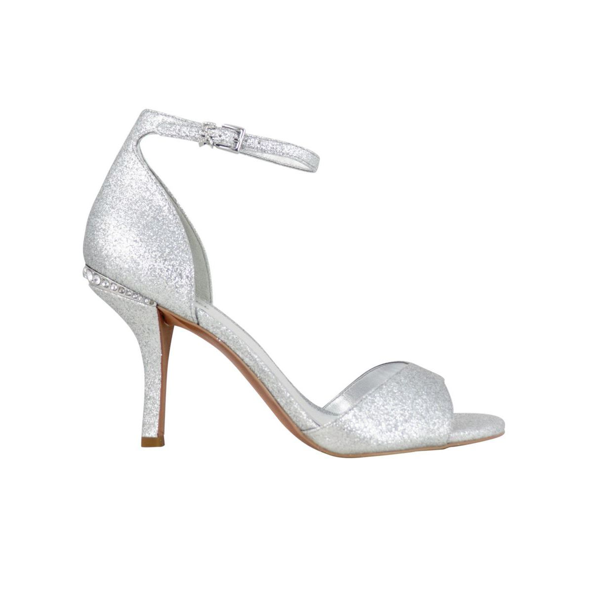 MALINDA lurex leather heeled sandal Silver Michael Kors