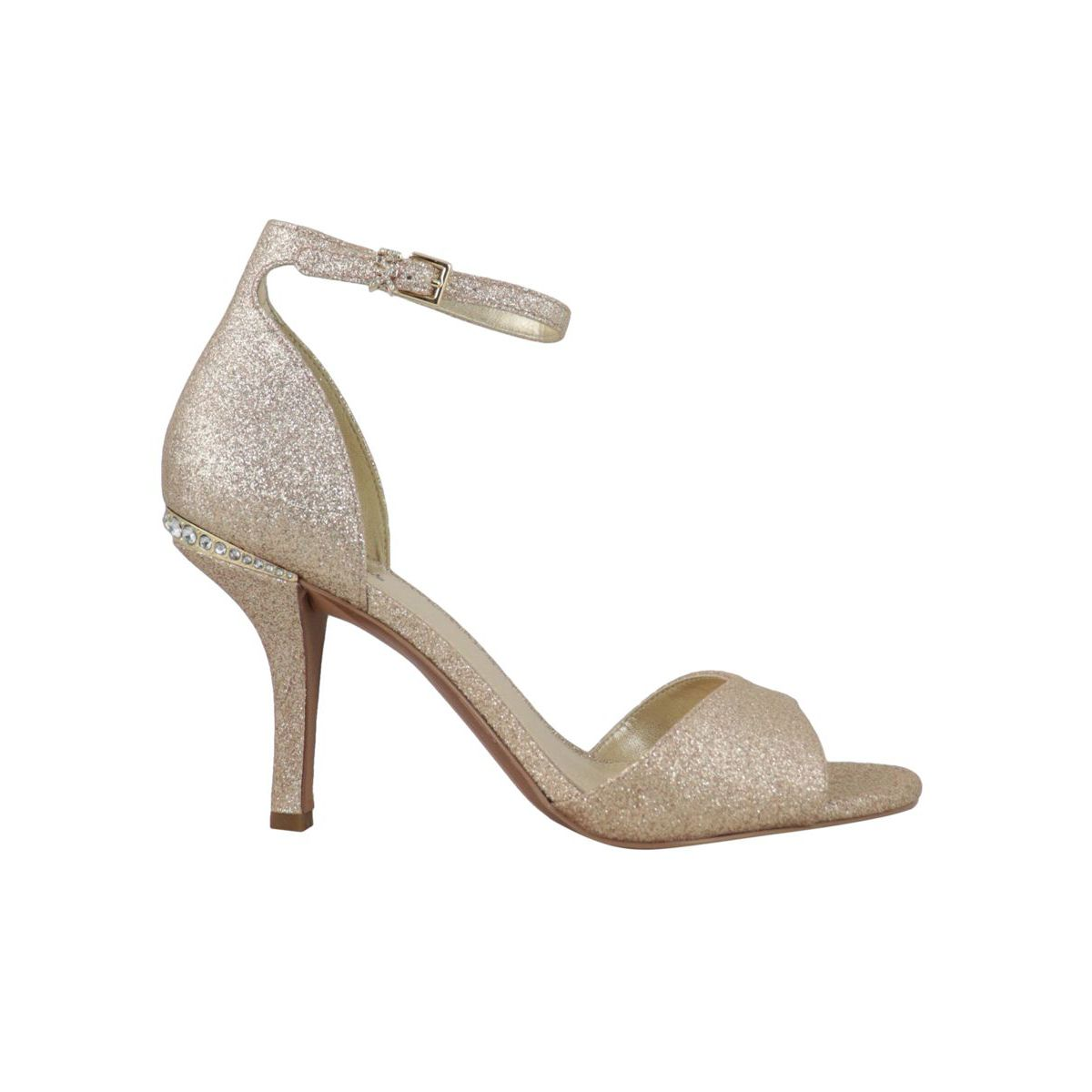 MALINDA lurex leather heeled sandal Gold Michael Kors