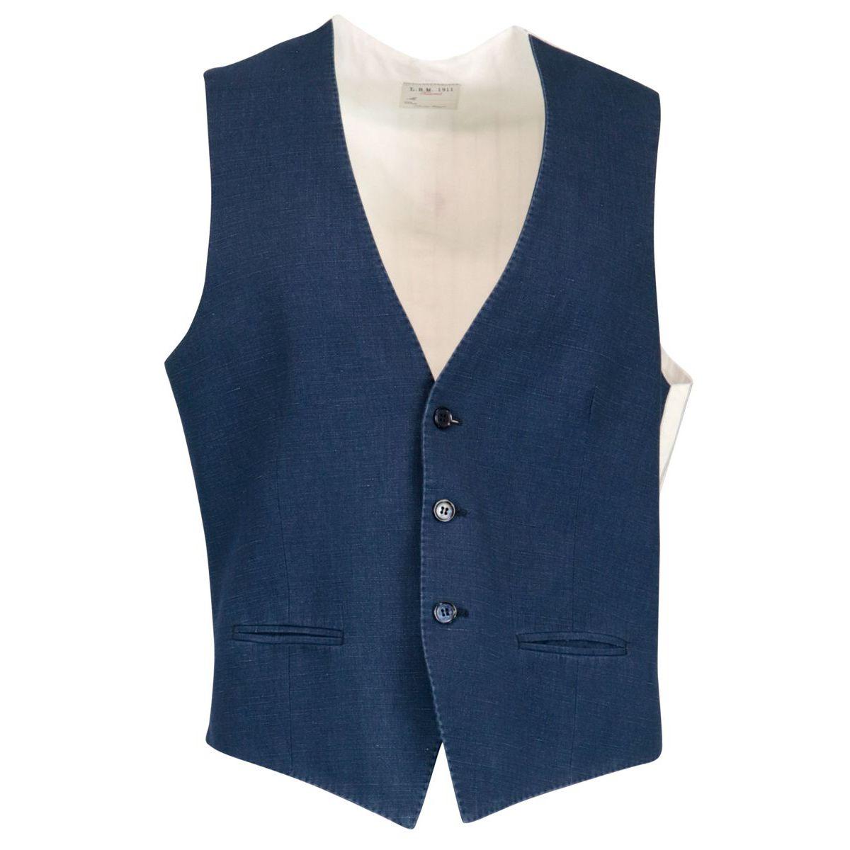 Denim effect cotton and linen waistcoat Blue L.B.M. 1911