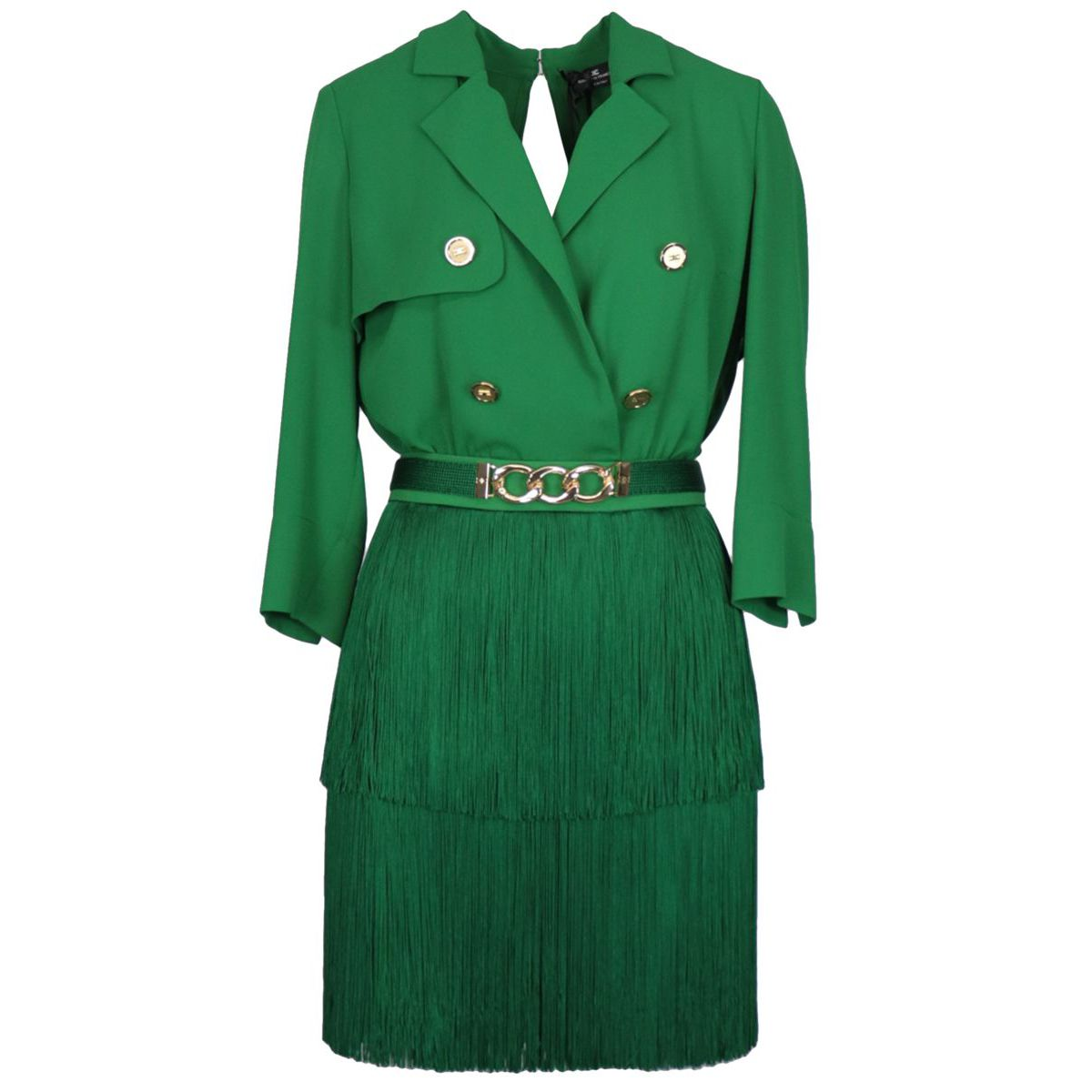 Crepe dress with fringes and belt Mint Elisabetta Franchi