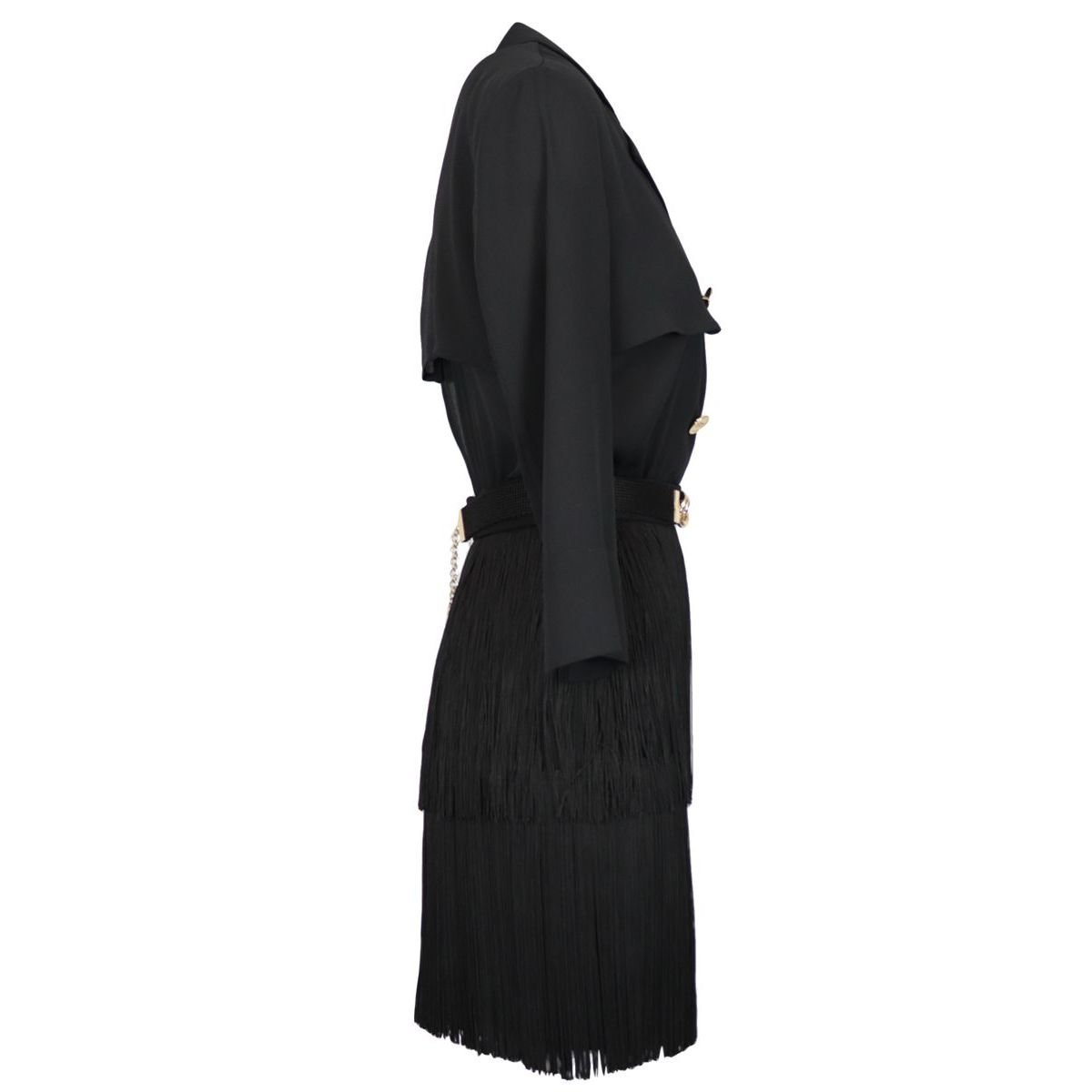 Crepe dress with fringes and belt Black Elisabetta Franchi