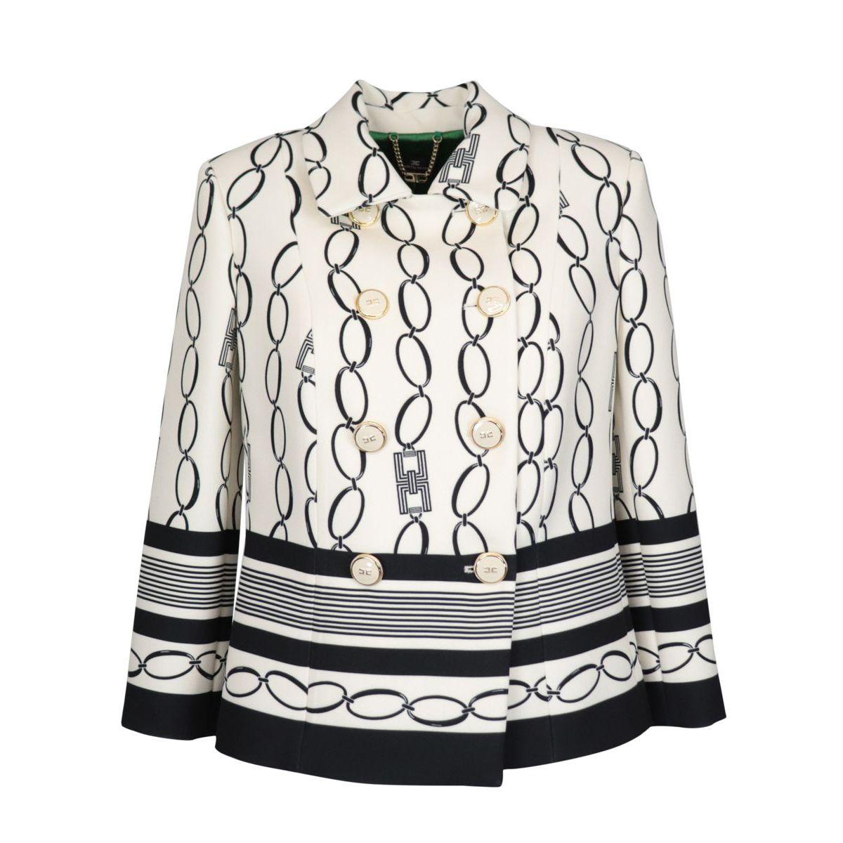 Giacca doppiopetto in crêpe con stampa catene Bianco/nero Elisabetta Franchi