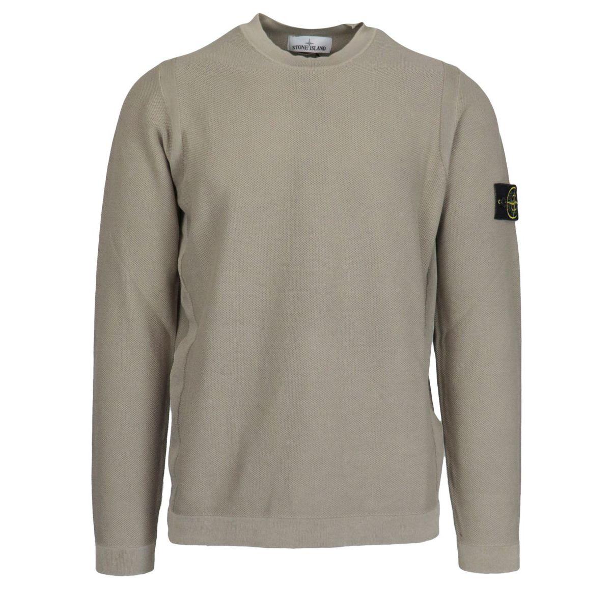 """Piquet effect"" cotton crewneck sweater with logo patch Bark Stone Island"