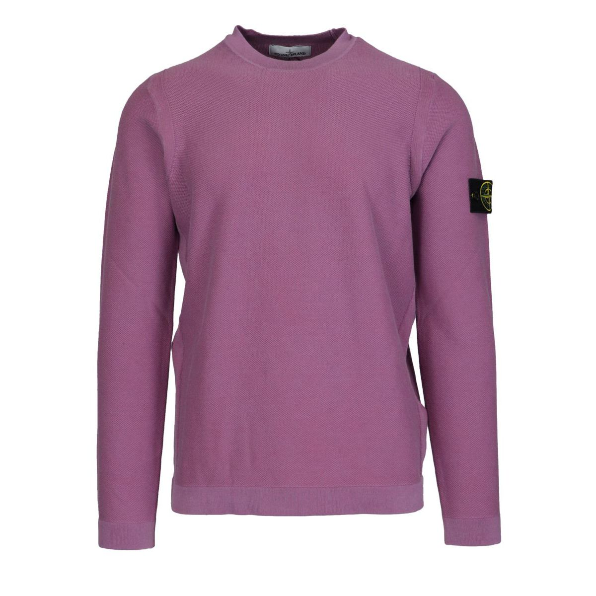 """""""Piquet effect"""" cotton crewneck sweater with logo patch Rose Stone Island"""