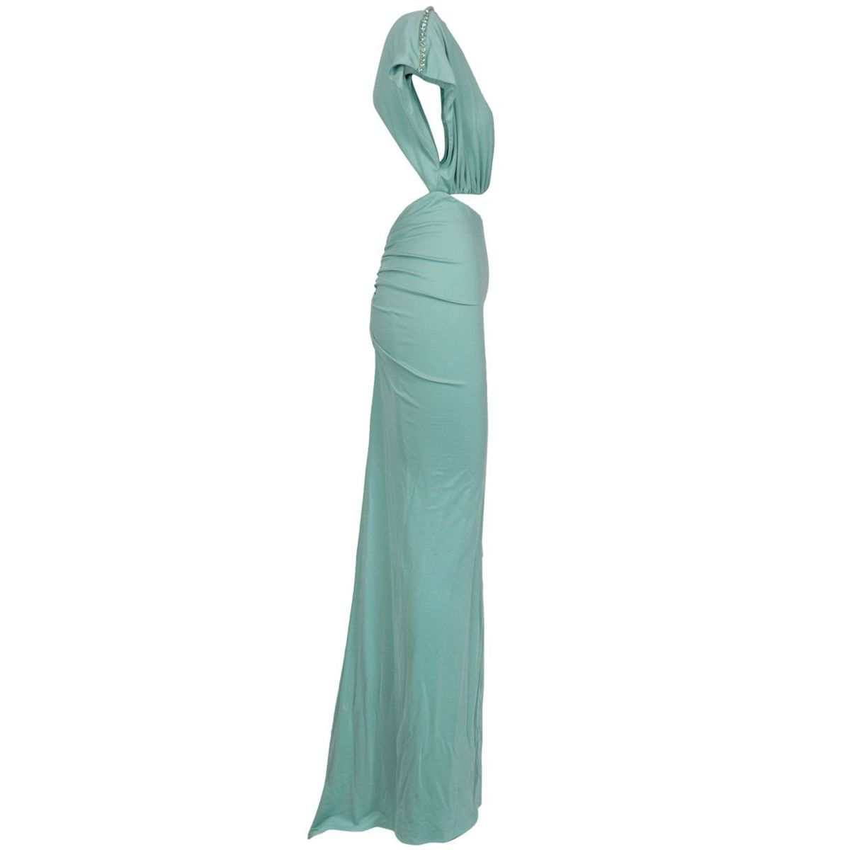 Long jersey dress with rhinestones on the neckline Green water Elisabetta Franchi