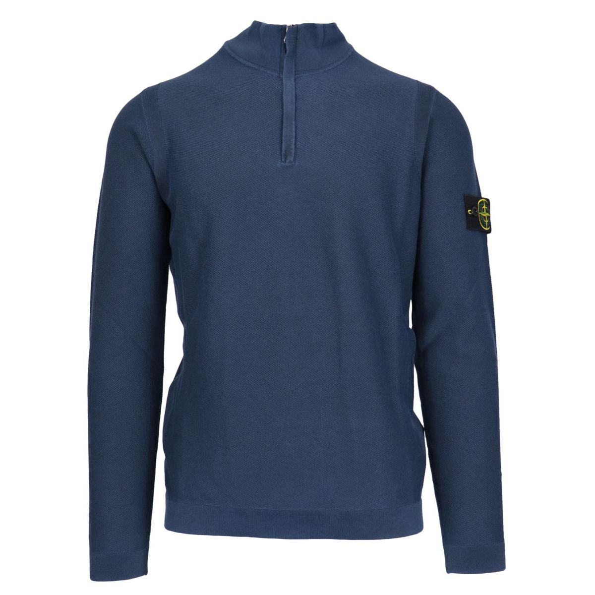 Cotton sweater with stand up collar and half zip Blue Stone Island