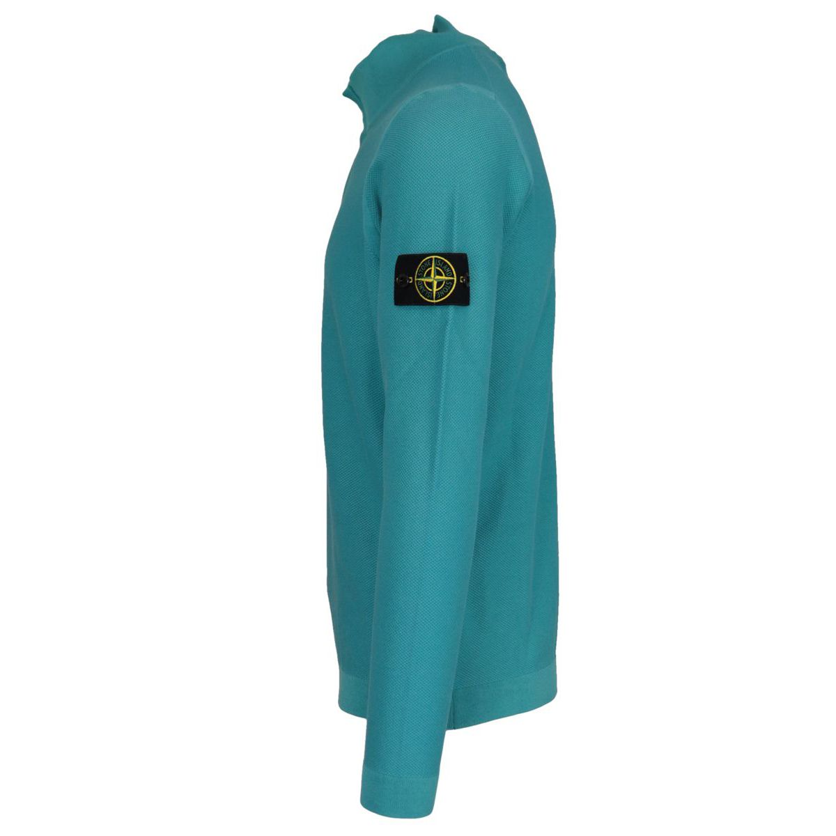Cotton sweater with stand up collar and half zip Turquoise Stone Island
