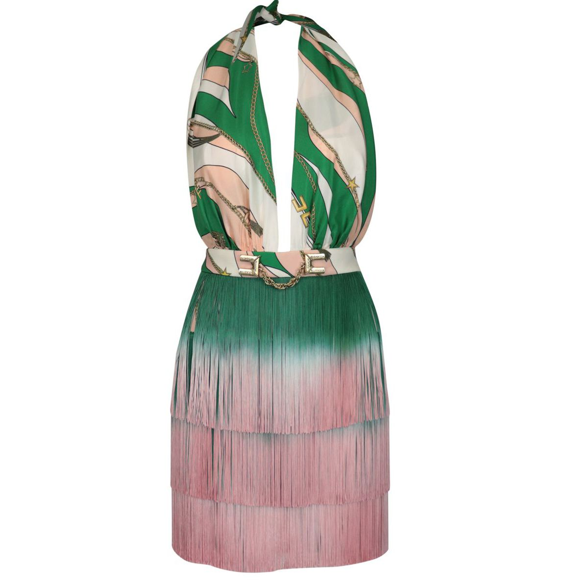 Short silk dress with belt and fringes Green / pink Elisabetta Franchi