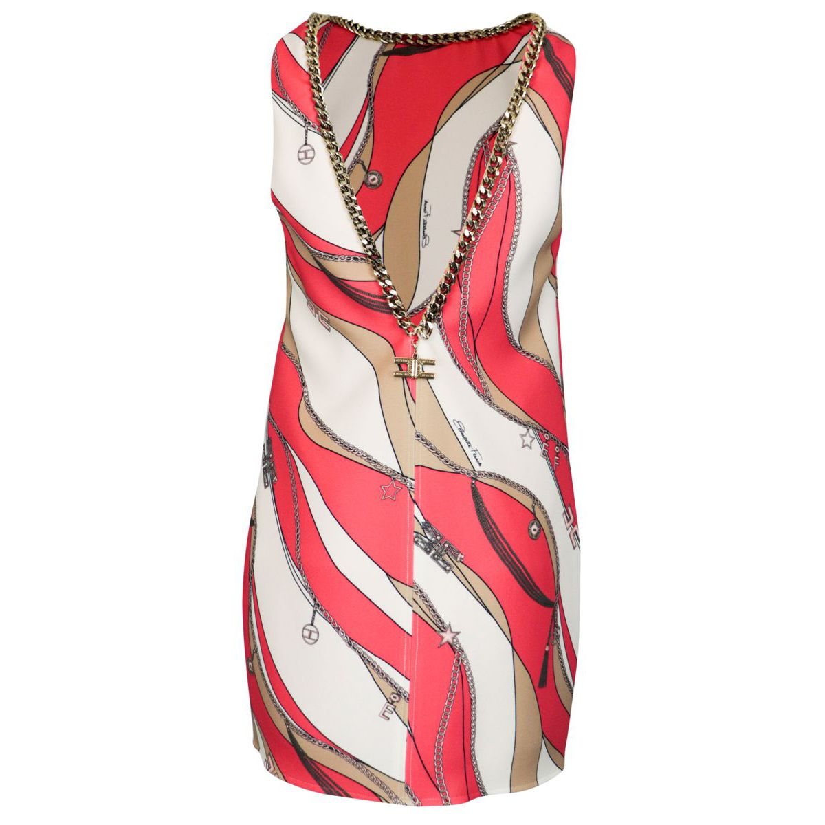 Crepe bag dress with foulard print Pink / brown Elisabetta Franchi