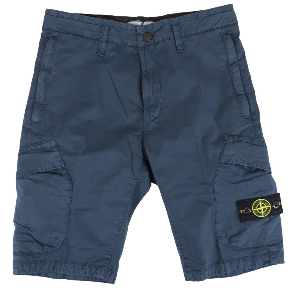 Soft stretch cotton bermuda with pockets Blue STONE ISLAND JUNIOR
