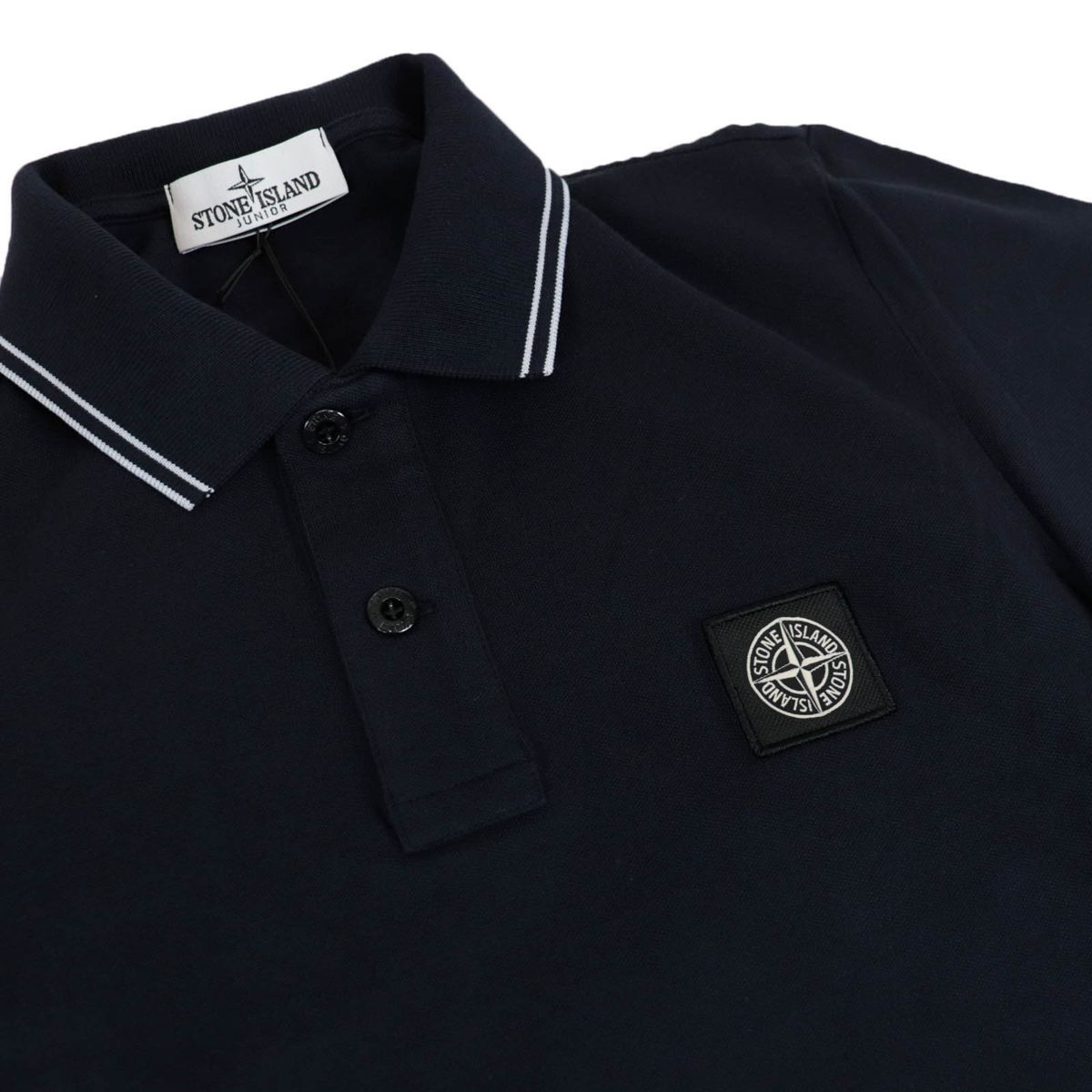 Two-button stretch cotton polo shirt with logo patch Blue STONE ISLAND JUNIOR