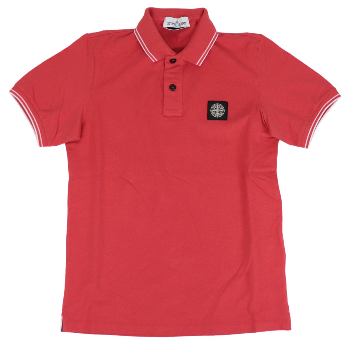 Two-button stretch cotton polo shirt with logo patch Coral STONE ISLAND JUNIOR