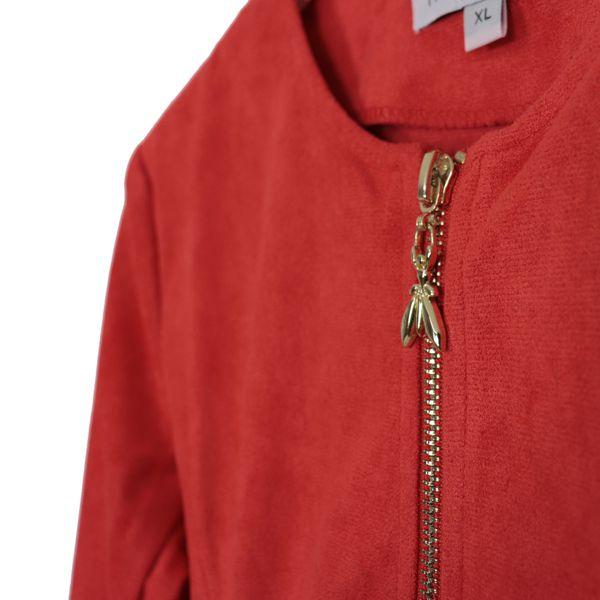 Suede crew-neck jacket with zip Red Patrizia Pepe