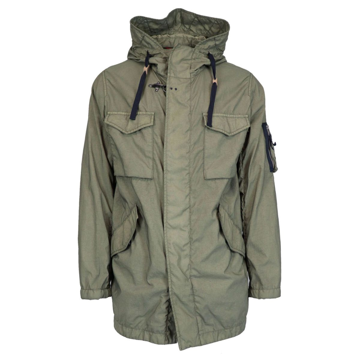 Multi-pocket parka with garment-dyed hood Olive Fay