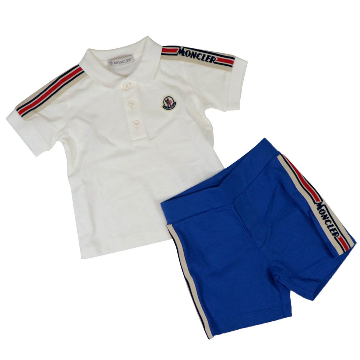Cotton polo and short set with logoed bands White Moncler
