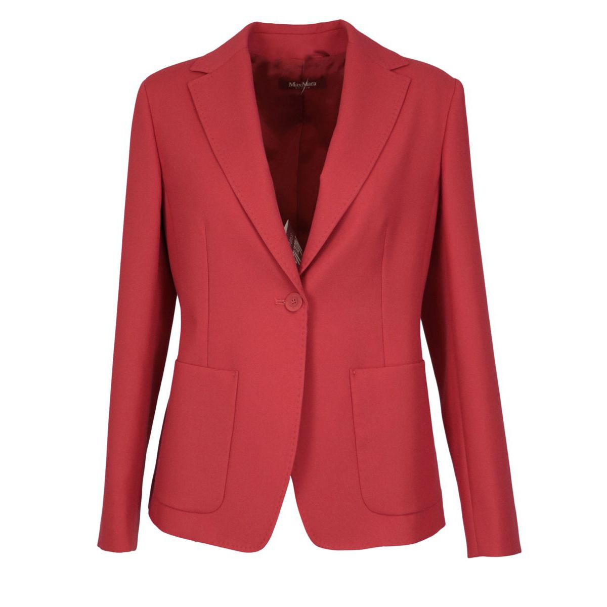 Cotton jacket with patch pockets and visible stitching India red MAX MARA STUDIO