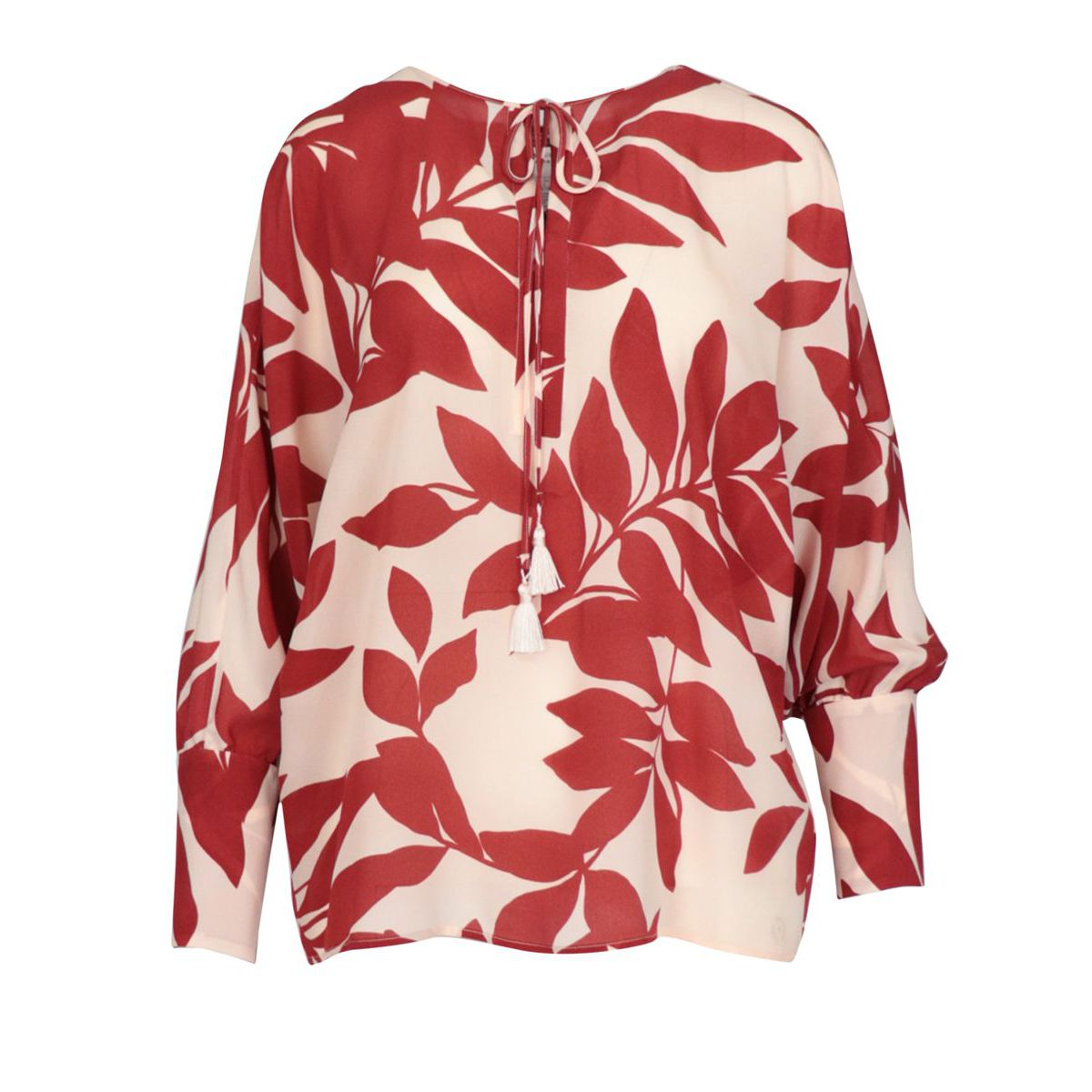 Georgette blouse with high cuff and pleat at the back Red / flower MAX MARA STUDIO