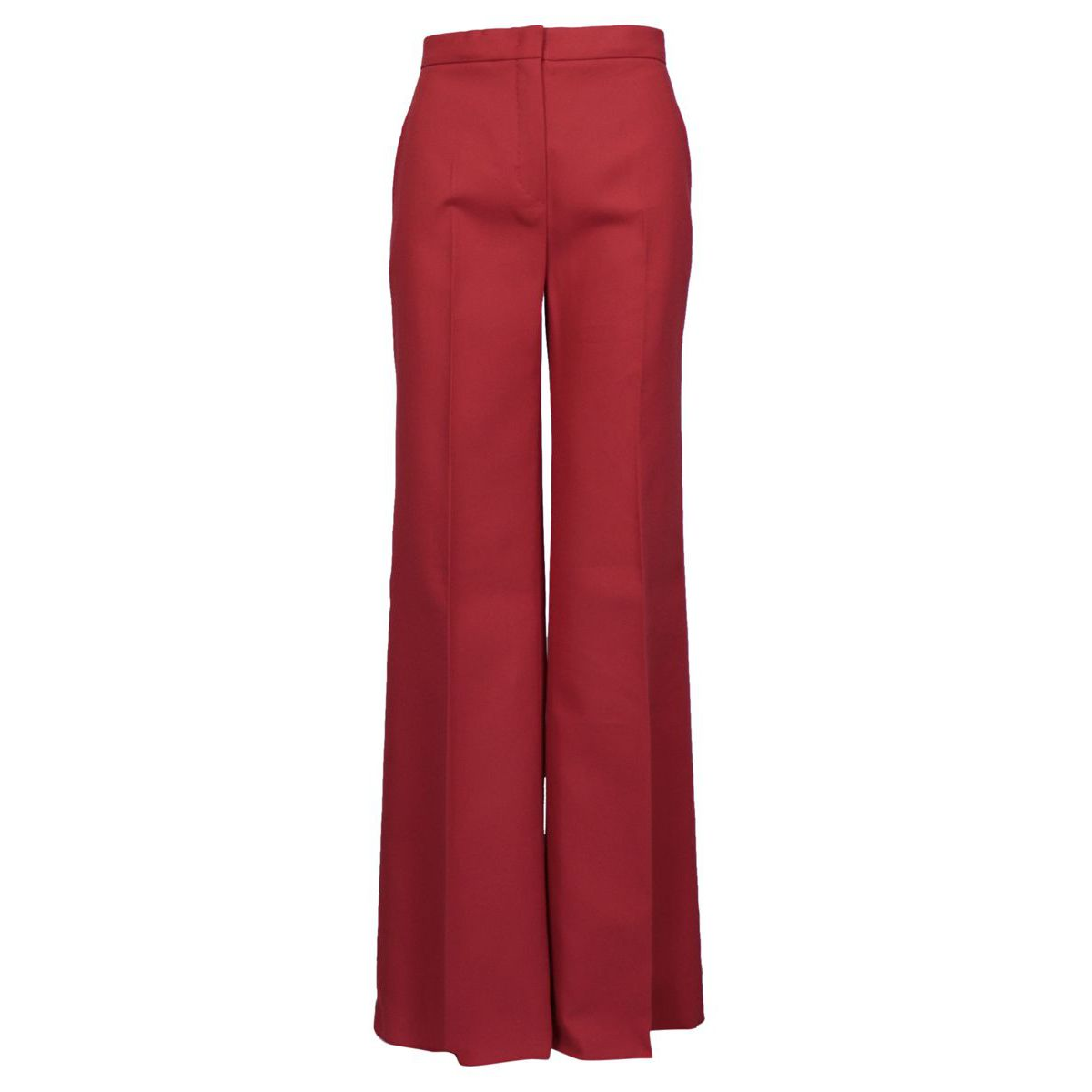 Wide cotton trousers with ironed crease and diagonal pockets India red MAX MARA STUDIO