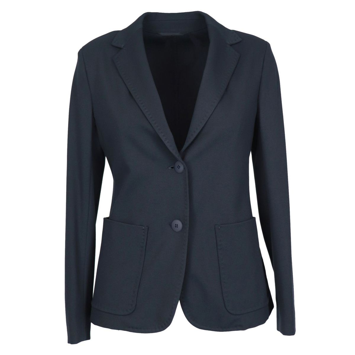 Jersey jacket with patch pockets with visible stitching Blue MAX MARA STUDIO