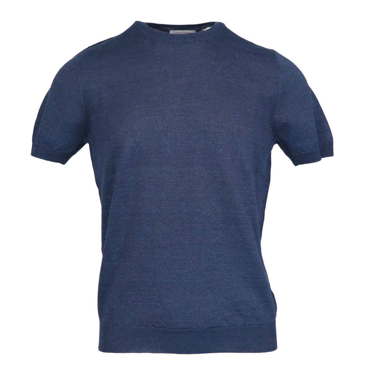 Cotton half-sleeved crew neck sweater with ribbed profiles Blue Gran Sasso