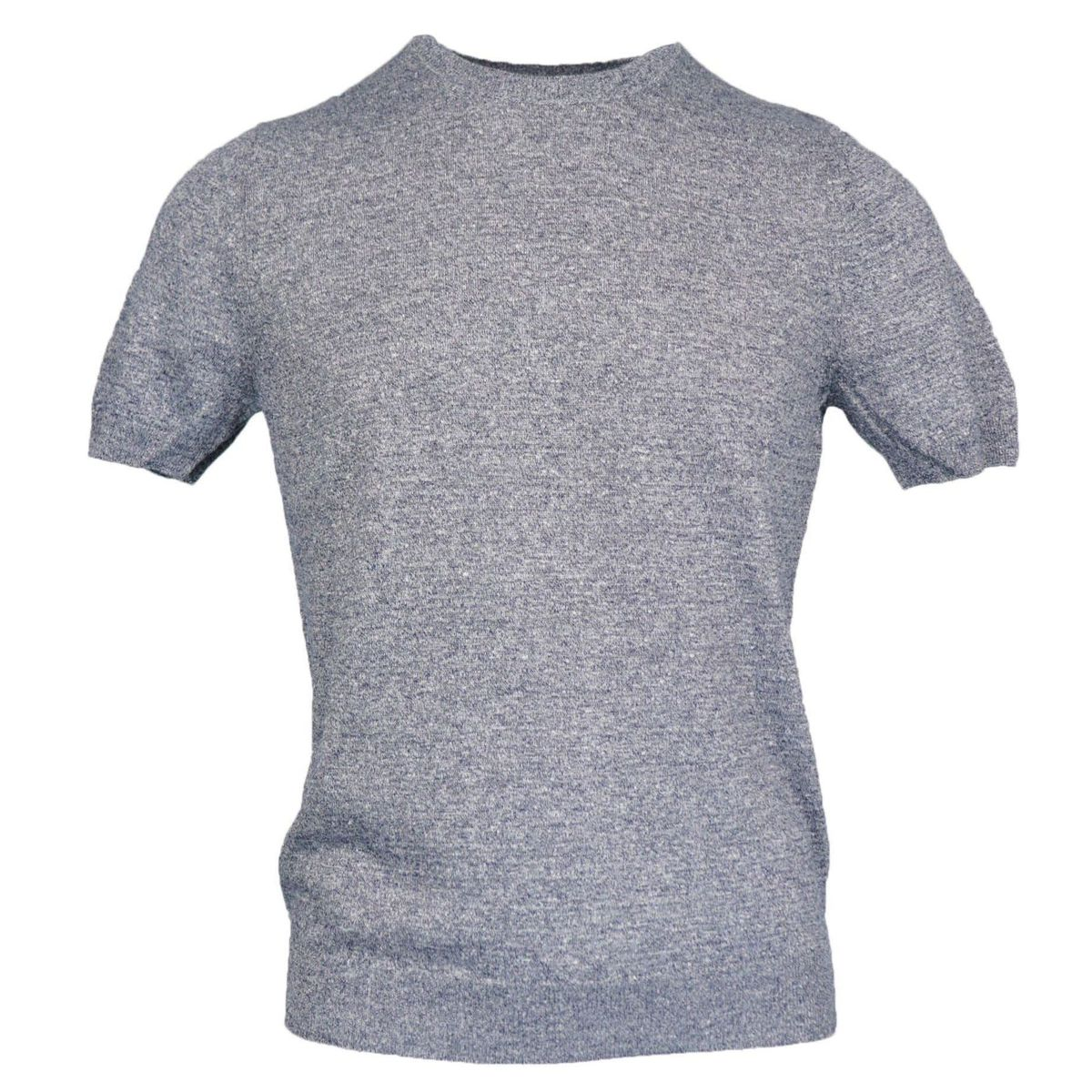 Cotton half-sleeved crew neck sweater with ribbed profiles Light grey Gran Sasso