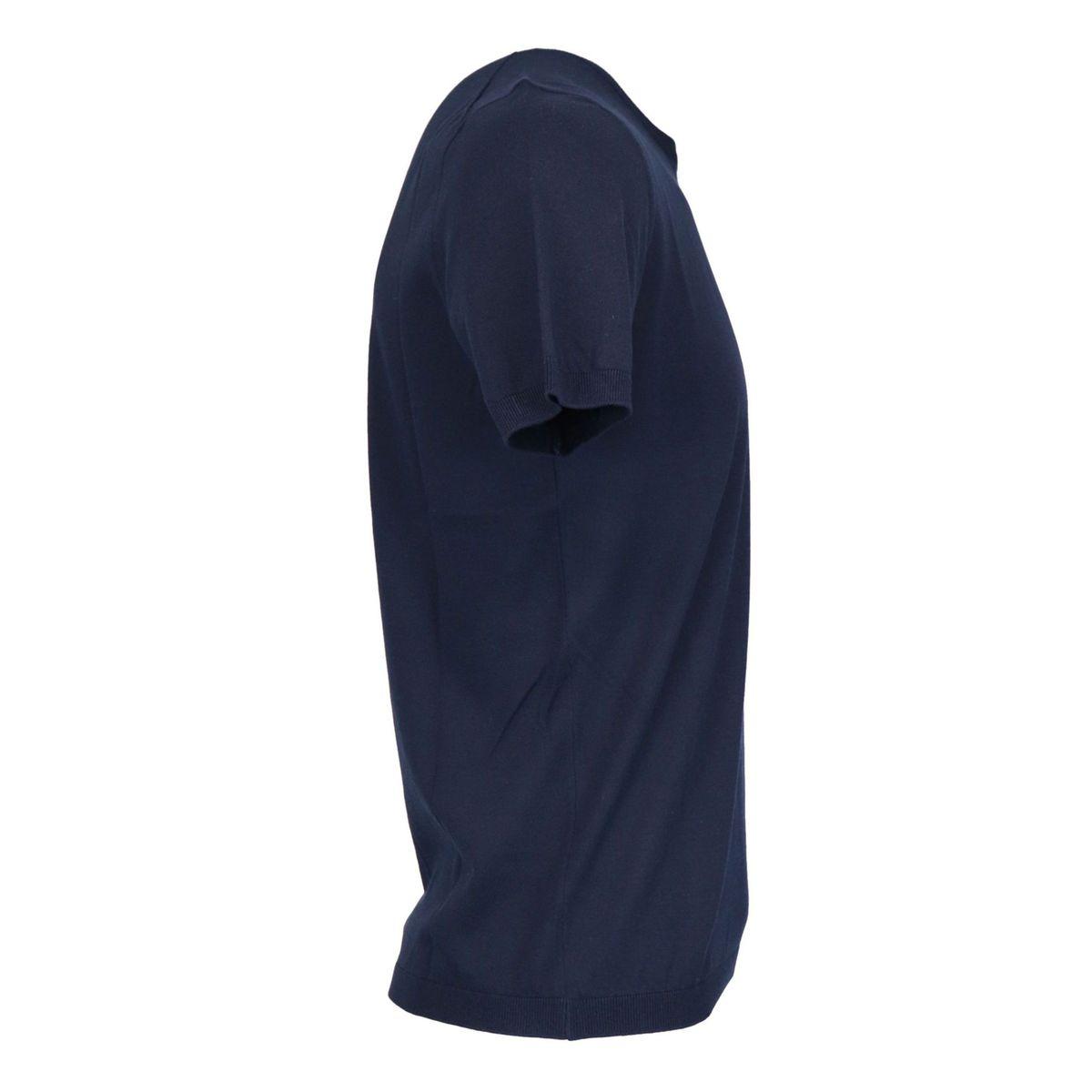 Short-sleeved crew neck sweater in cotton Navy Gran Sasso