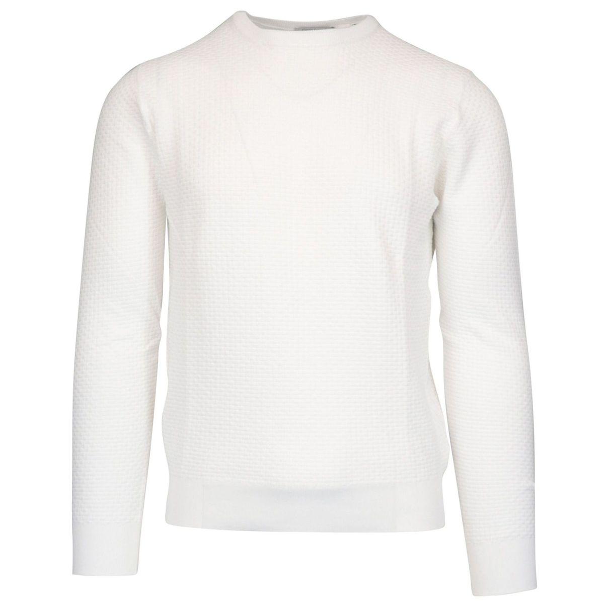 Crew-neck cotton pullover in textured cotton White Gran Sasso