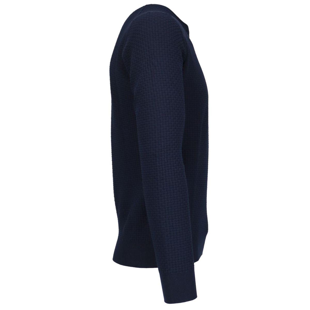 Crew-neck cotton pullover in textured cotton Navy Gran Sasso