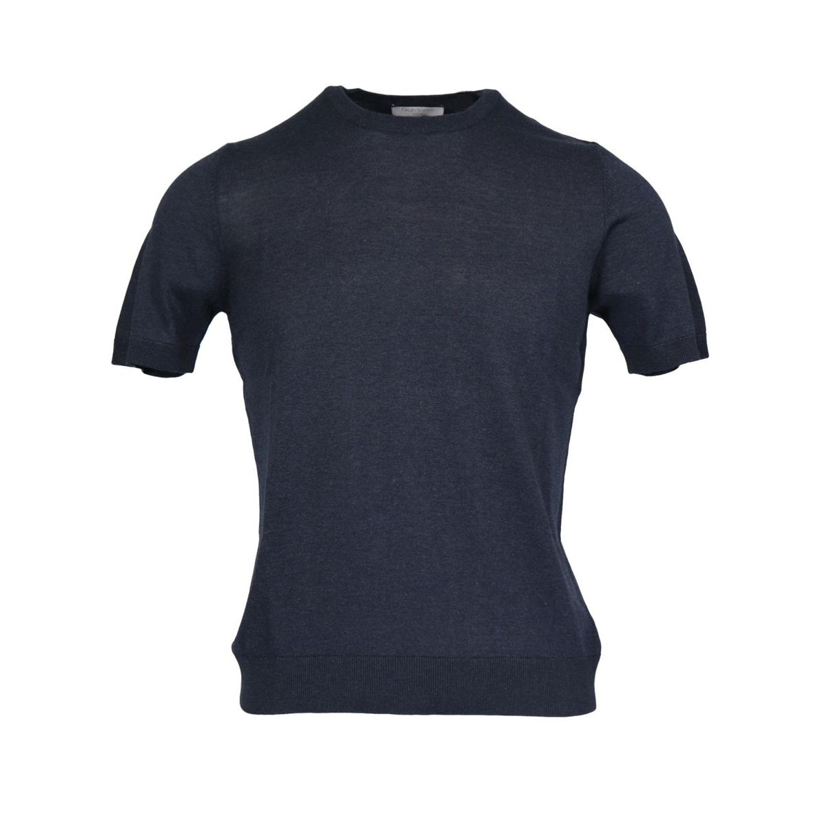 Crew neck silk T-shirt with ribbed profiles Navy Gran Sasso