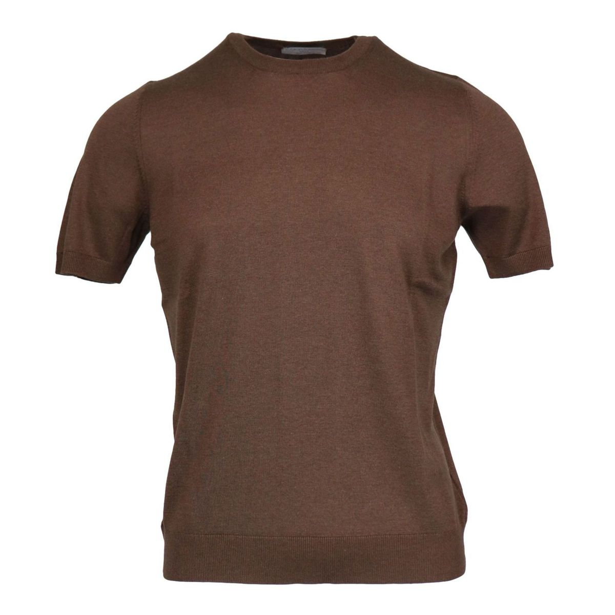 Crew neck silk T-shirt with ribbed profiles Brown Gran Sasso