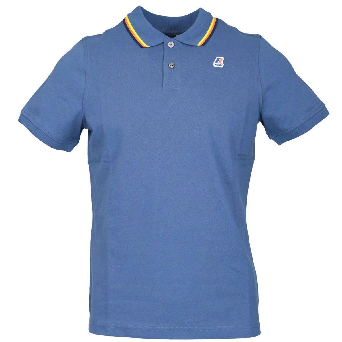 Jude Stripes cotton piqué polo shirt Blue K-Way