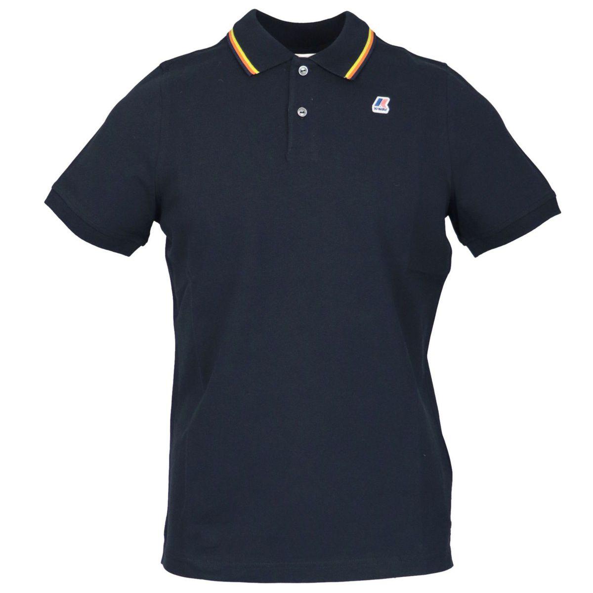 Jude Stripes cotton piqué polo shirt Night blue K-Way