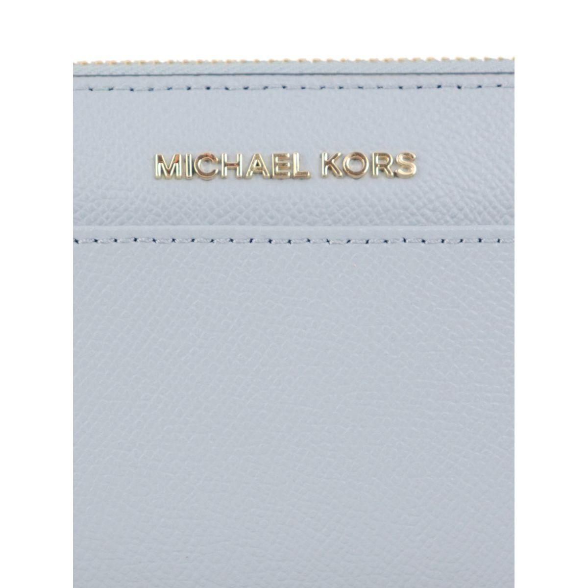 CONTINENTAL JET SET wallet in leather Light blue Michael Kors