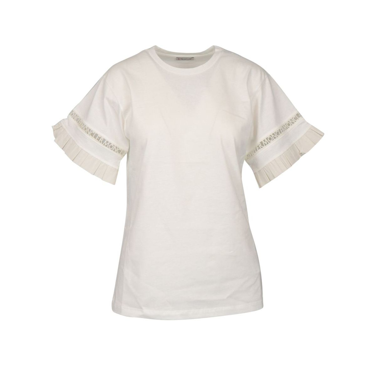 Short-sleeved cotton T-shirt with ruffles and MONCLER embroidery White Moncler