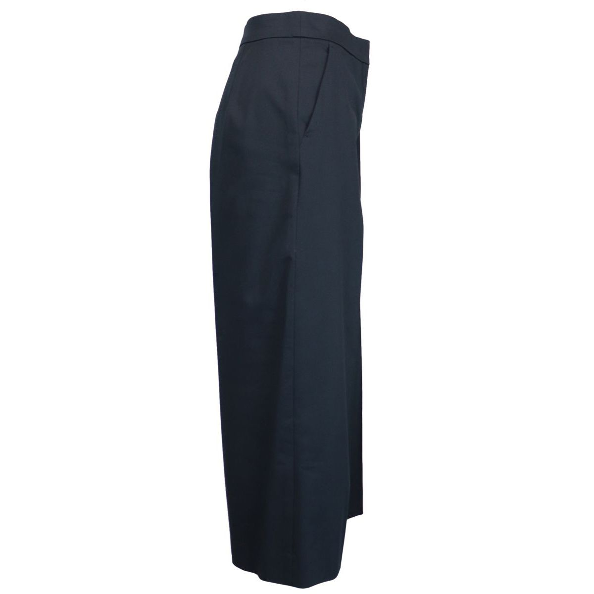 Cropped cotton trousers with welt pockets and ironed crease Blue MAX MARA STUDIO