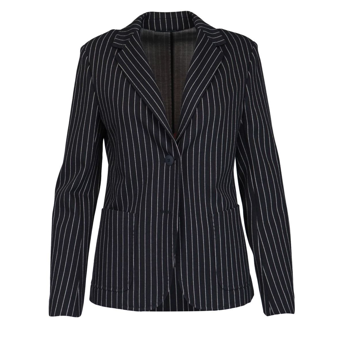 Pinstripe jacket in stretch jersey with patch pockets Blue MAX MARA STUDIO