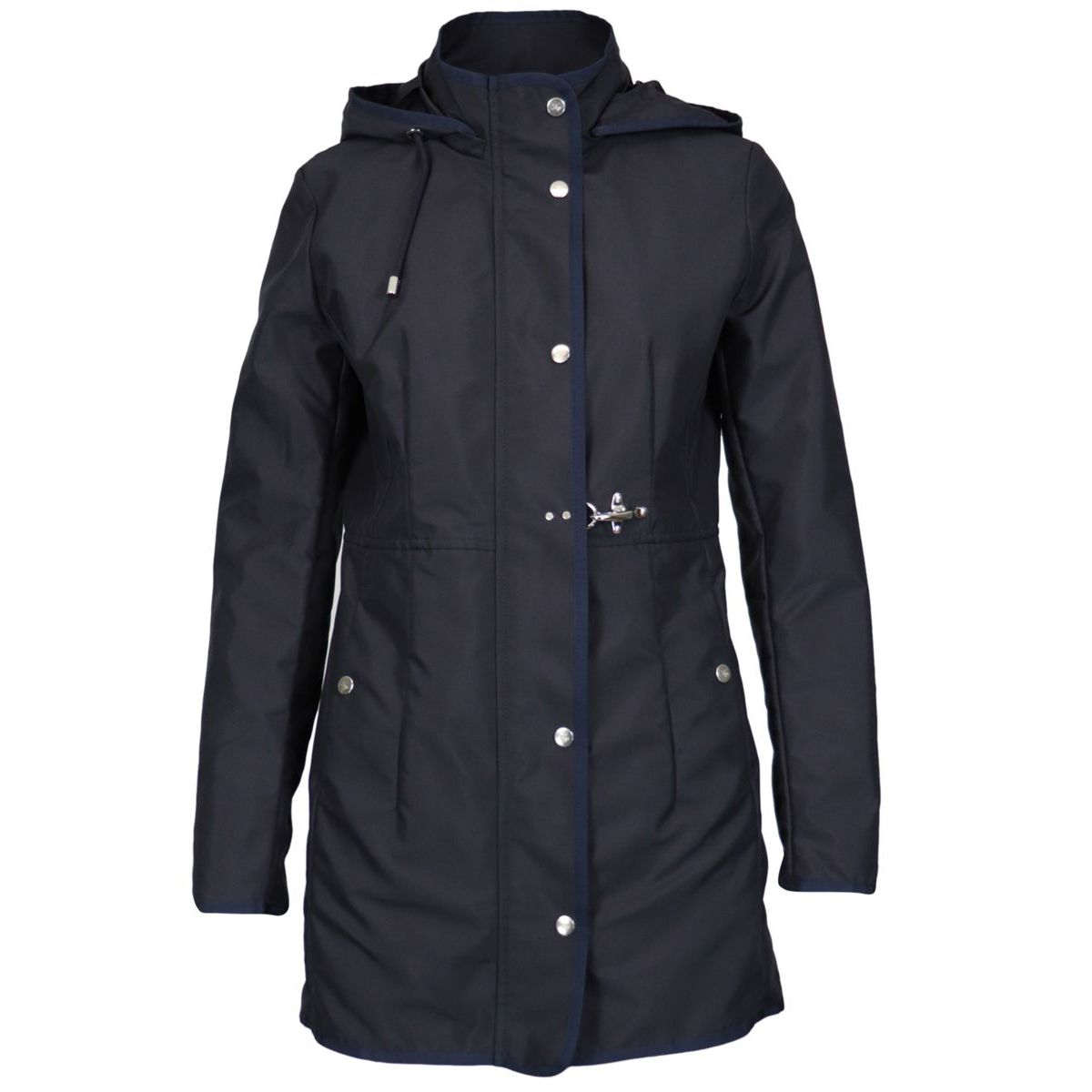 Waterproof nylon jacket with detachable hood Blue Fay