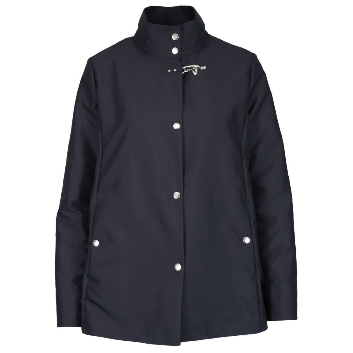 Nylon jacket with stand up collar Blue Fay
