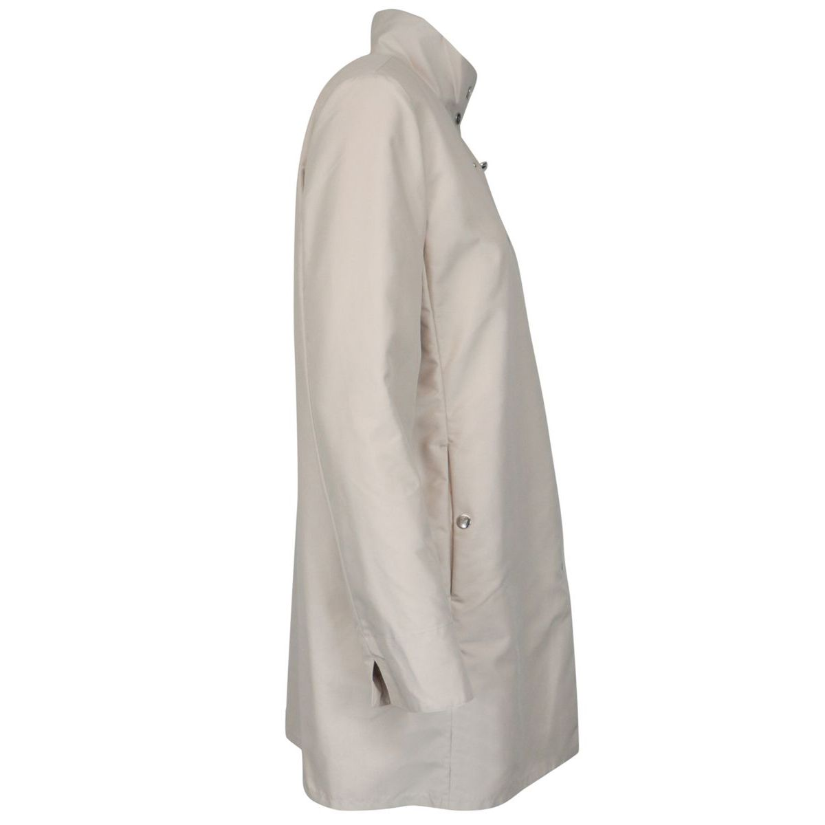 Medium length waterproof nylon jacket with stand up collar Light beige Fay