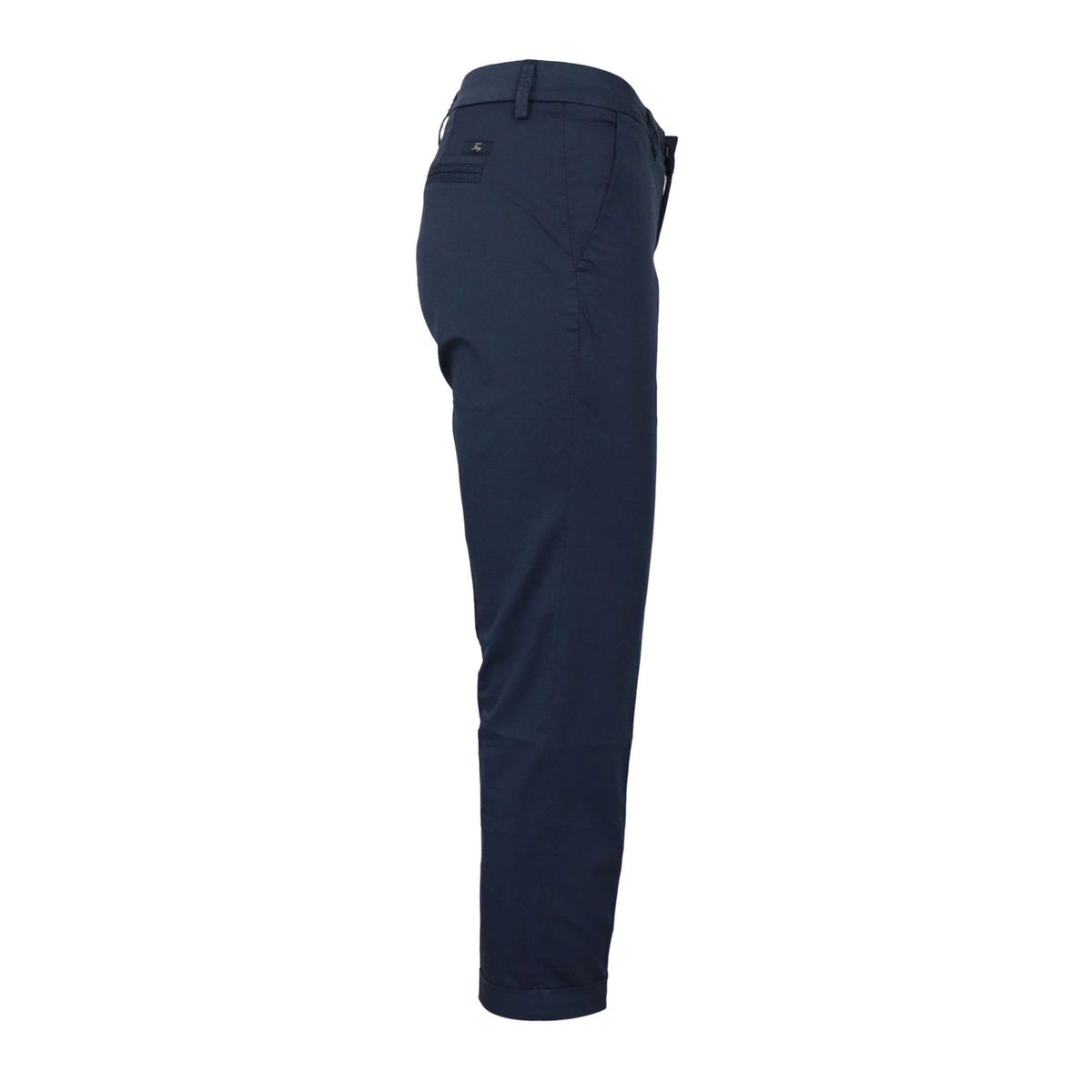 Capri pants in stretch cotton with turn-ups Blue Fay