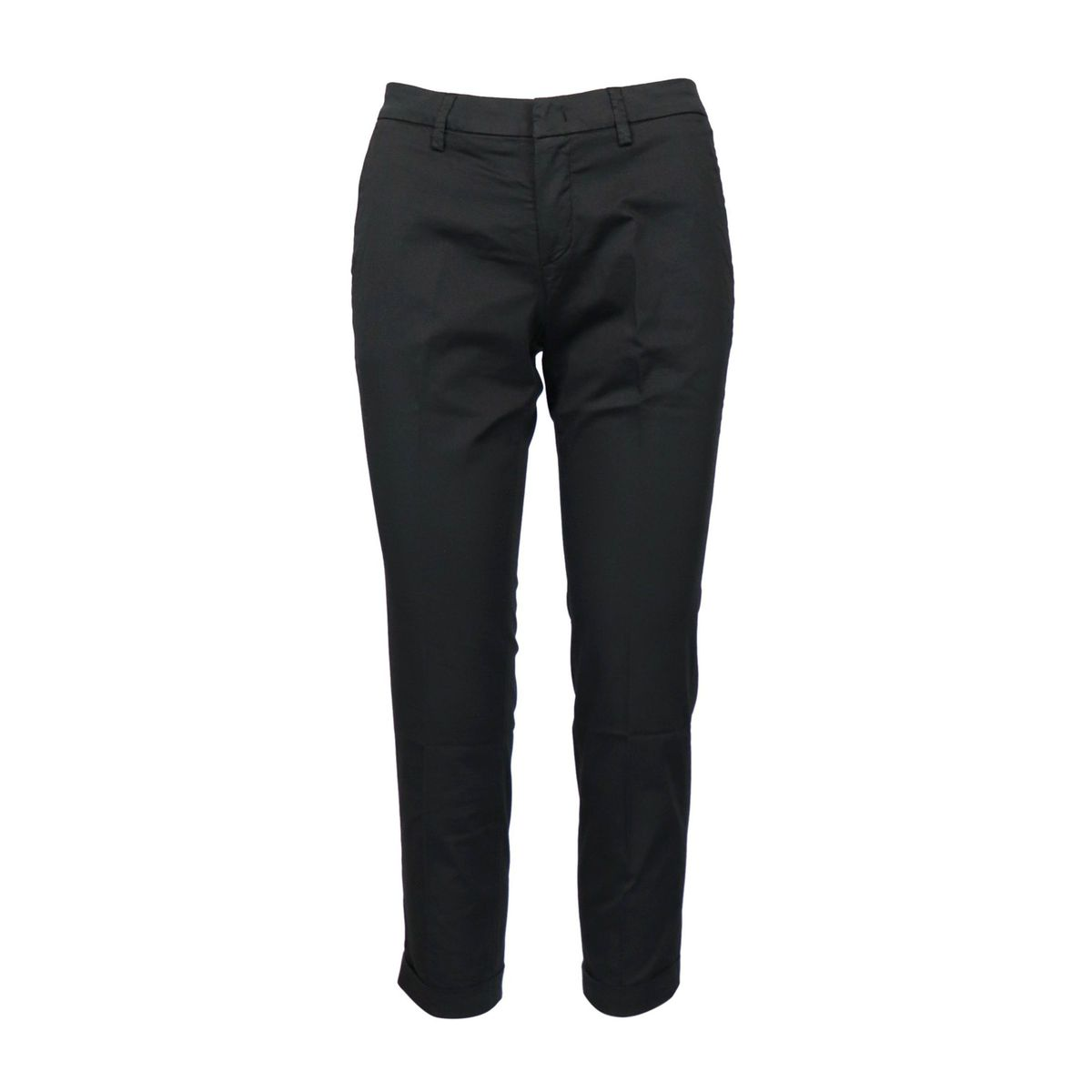 Capri pants in stretch cotton with turn-ups Black Fay