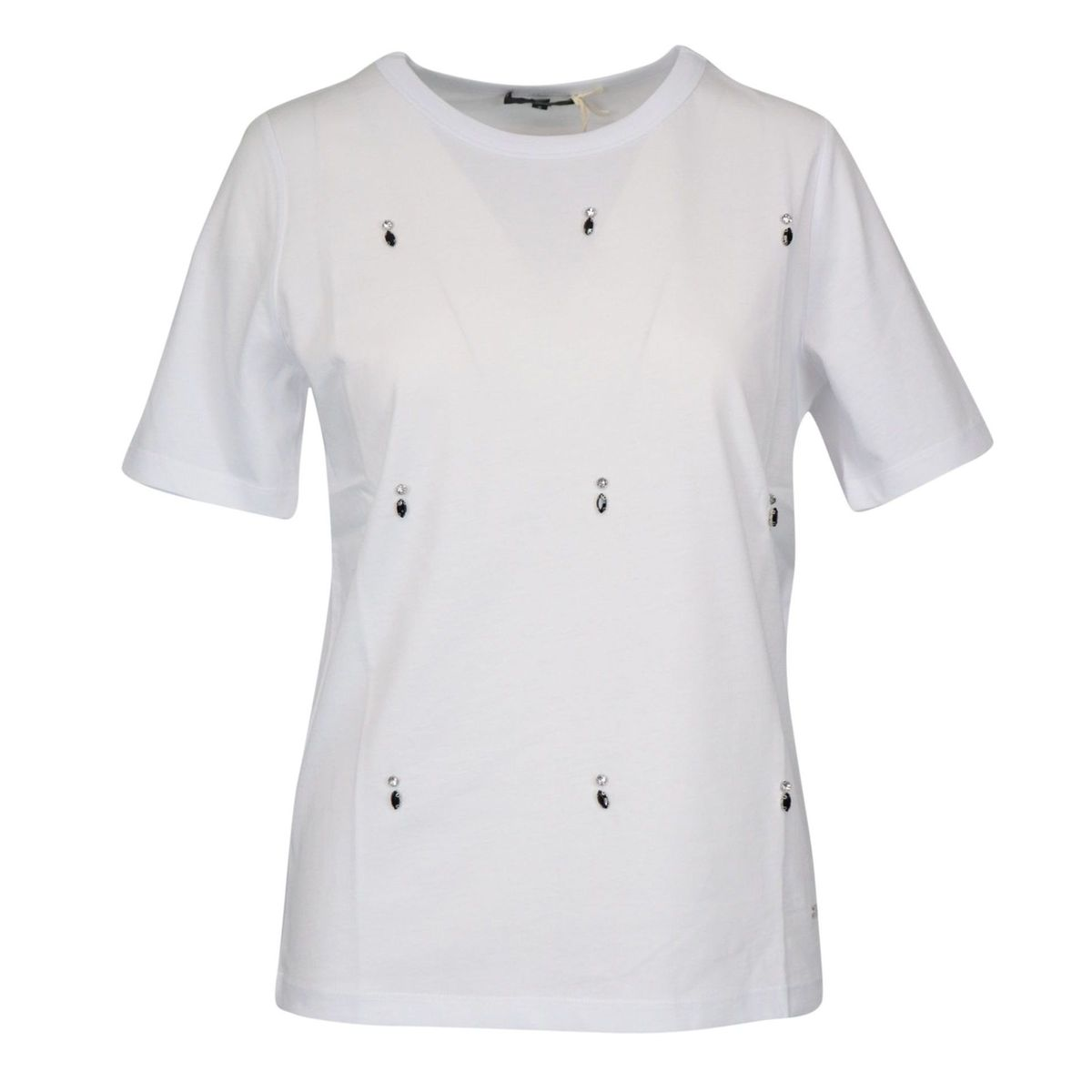 Short sleeve cotton T-shirt with rhinestone application White Fay