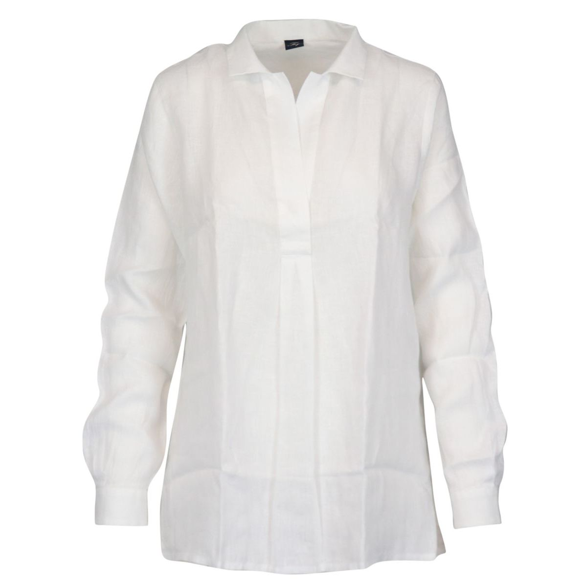 Button-down linen shirt with V-neck White Fay