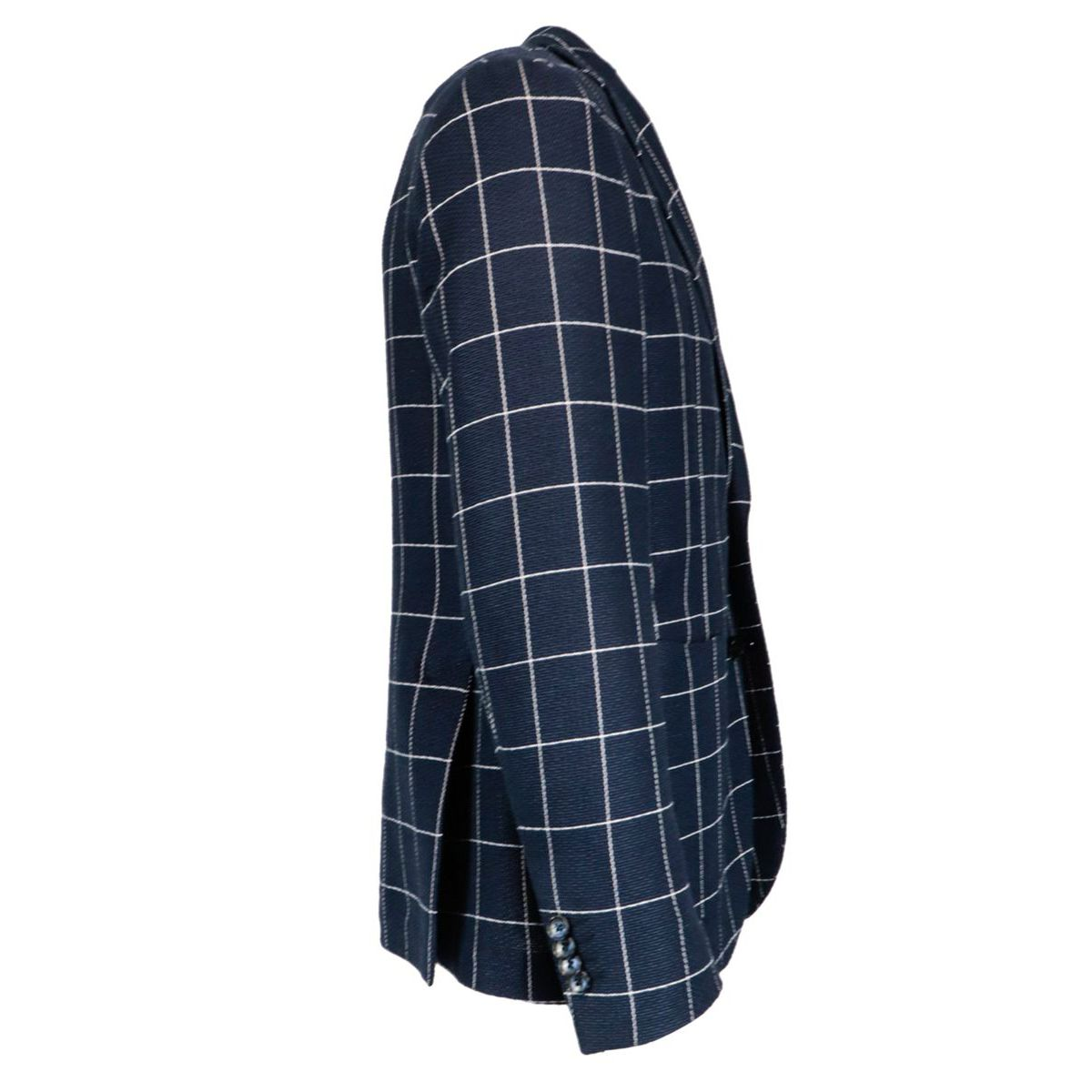 Slim two-button jacket in madras patterned cotton and linen Blue L.B.M. 1911