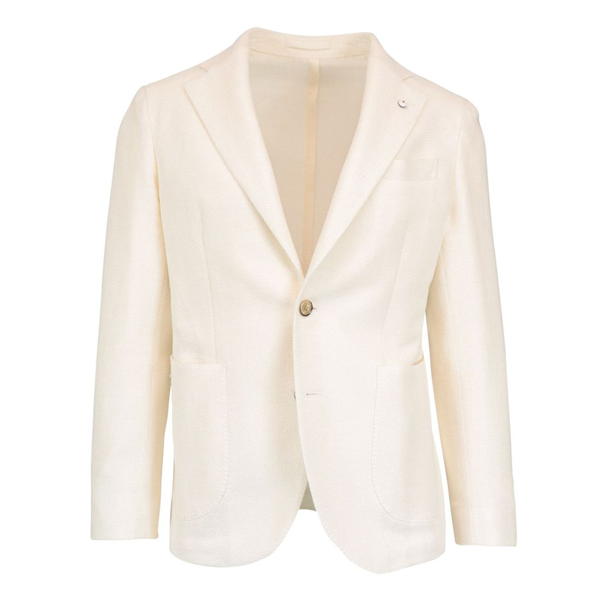 Two-button slim jacket in cotton and linen Cream L.B.M. 1911