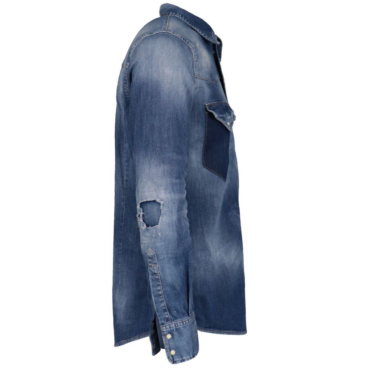 Used-effect denim shirt with breaks Denim Dsquared2